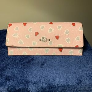 All Leather Coach Wallet (Pink with Hearts)